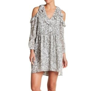 Lucky Brand Cold Shoulder Ruffle Printed Dress M